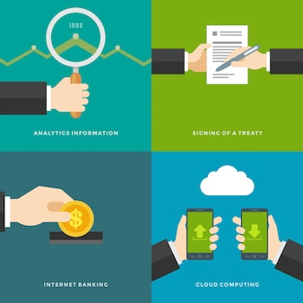 Website promotion elements. signing of a treaty, analytics information, internet banking, cloud computing. vector illustrations set.