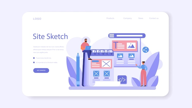 Website prototyping web banner or landing page. isolated flat vector illustration