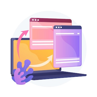 Sviluppo responsive design del sito web. computer, programmazione software per laptop. ottimizzazione web. creazione di siti internet multipiattaforma.