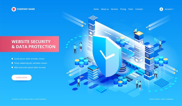Website security and data protection.  isometric illustrat