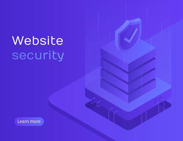 Webサイトのセキュリティ、データ保護、サーバーアクセス、個人アカウント、個人データ処理。アイソメ図スタイルのモダンなイラスト