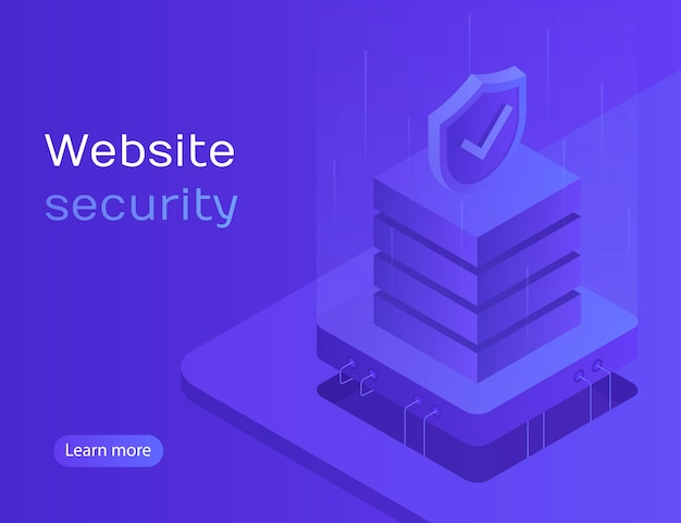 Website security, data protection, server access, personal account, personal data processing. modern  illustration in isometric style