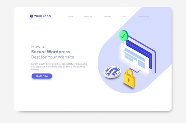 Website security isometric illustration website landing page