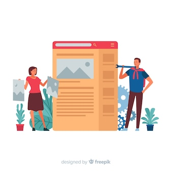 Concetto di configurazione del sito web per landing page