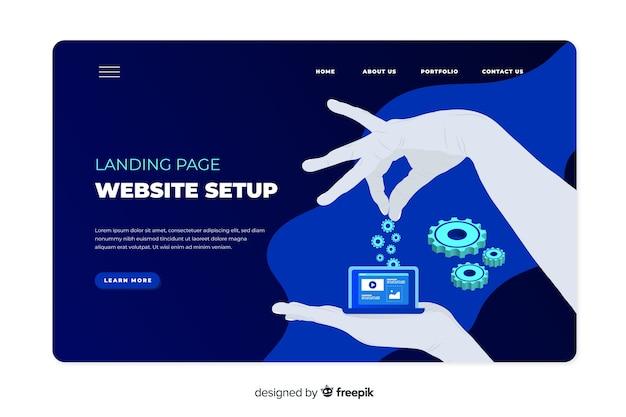 Website setup concept for landing page
