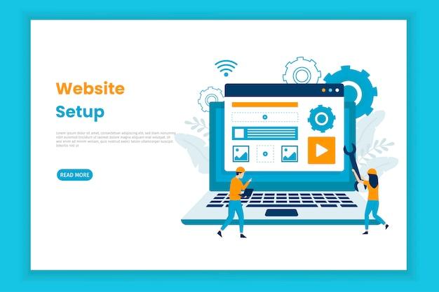 Website setup illustration landing page concept