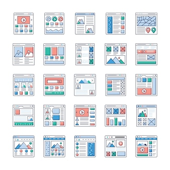 Website sitemaps flat vectors set is here. if you're interested in web designing, web hosting, videography, web communication and so on hence, grab this opportunity and use in relevant field.