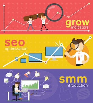 Website smm and seo optimization banner