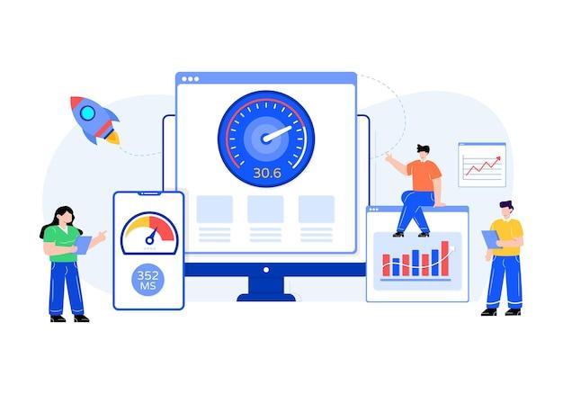 Тест скорости веб-сайта в плоском дизайне иллюстрации