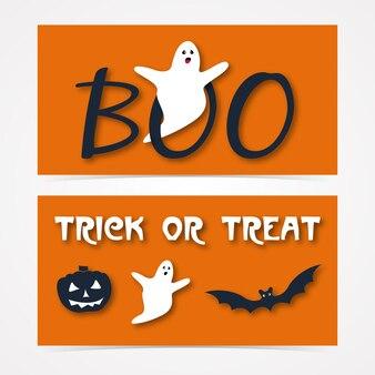 Жуткий заголовок веб-сайта или баннер с тыквой, летучей мышью и призраком на хэллоуин.