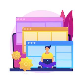 ウェブサイトテンプレートの抽象的な概念図。ランディングページのhtmlテンプレート、ウェブサイト構築サービス、商用および個人使用、ウェブコンストラクタープラットフォーム、デザインテーマ。