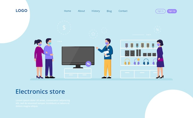 Website template composition on blue of male and female characters wearing masks at shop