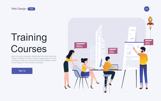 Website template concept for online education, training and courses.