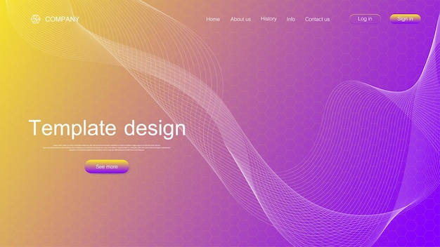 Website template design. asbtract scientific background with colorful dynamic waves, hexagonal innovation pattern. illustration.