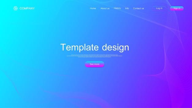 웹사이트 템플릿 디자인입니다. 다채로운 동적 파도, 육각형 혁신 패턴으로 추상 과학적 배경. 웹사이트 또는 앱을 위한 최신 랜딩 페이지입니다. 벡터 일러스트 레이 션.