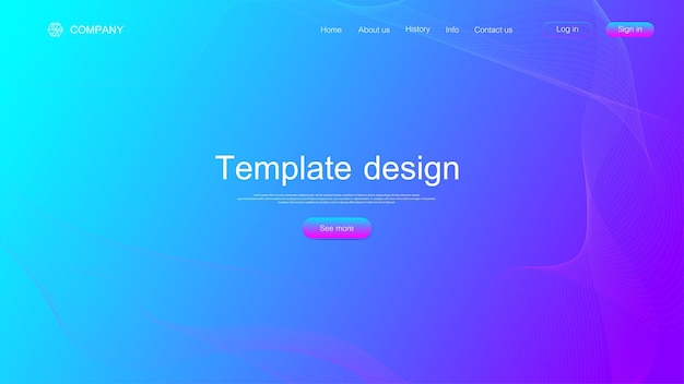 Website template design. asbtract scientific background with colorful dynamic waves, hexagonal innovation pattern. modern landing page for websites or apps. vector illustration.