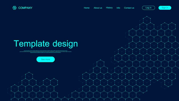 Website template design. asbtract scientific background with colorful dynamic waves, hexagonal innovation pattern. modern landing page for websites or apps.  .