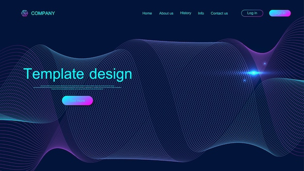ウェブサイトのテンプレートデザイン。カラフルなダイナミックな波で抽象的な科学的背景。最新のランディングページ