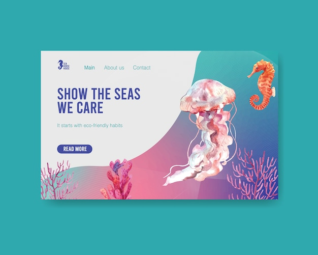 Дизайн шаблона сайта для концепции всемирного дня океанов с акварельной векторной медузой, кораллами и морскими коньками