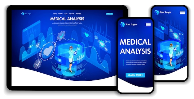 웹사이트 템플릿 디자인입니다. 아이소메트릭 개념 의료 분석, 의사는 가상 화면에서 작업합니다. 웹 디자인 방문 페이지입니다. 편집 및 사용자 정의가 용이하고 적응형 ui ux.