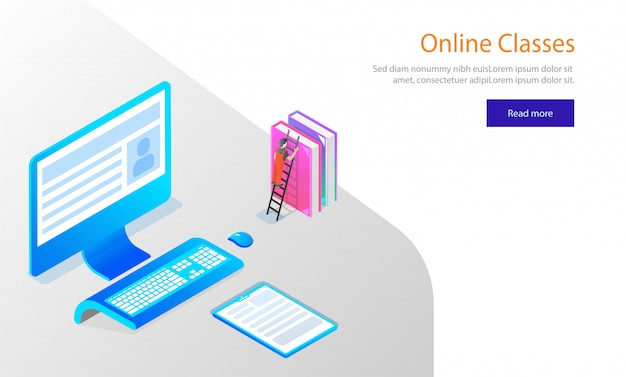 Website template design, isometric desktop with books.