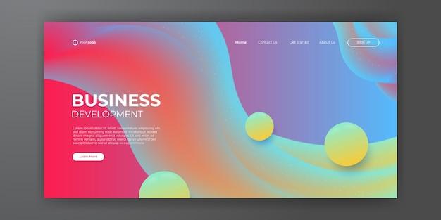 Website template design and landing page line dynamic shapes blue background. vector illustration for apps development, mobile, ui template