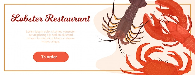 Website template design for lobster restaurant delivery service  illustration flat style. web page banner for seafood restaurant to order food online.