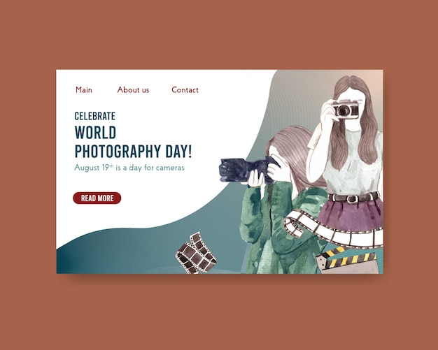 Website template design with world photography day for internet and online community
