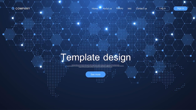 Website template design. world data connecting network and communications concept with map dots. modern landing page.
