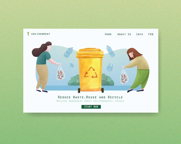 Website template design for world environment day.save earth planet world concept  watercolor vector