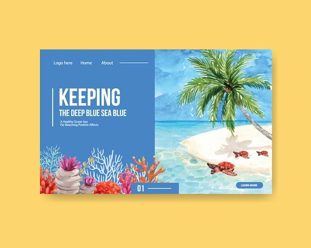Progettazione del modello del sito web per il concetto di giornata mondiale degli oceani con il vettore dell'acquerello di tartaruga e corallo