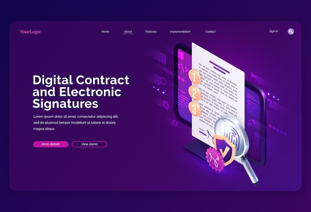 ウェブサイトのテンプレート。デジタル契約と電子署名の等尺性ランディングページ、指紋、シールド、拡大鏡を備えたpc画面のドキュメント上の電子署名