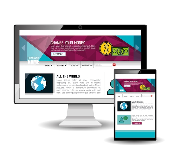 Website template in electronic devices