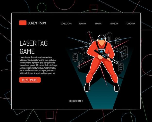 レーザータグゲームコンセプトルール機器のウェブサイトテンプレートは、銃を保持しているプレーヤーと等尺性のデザインを提供しています