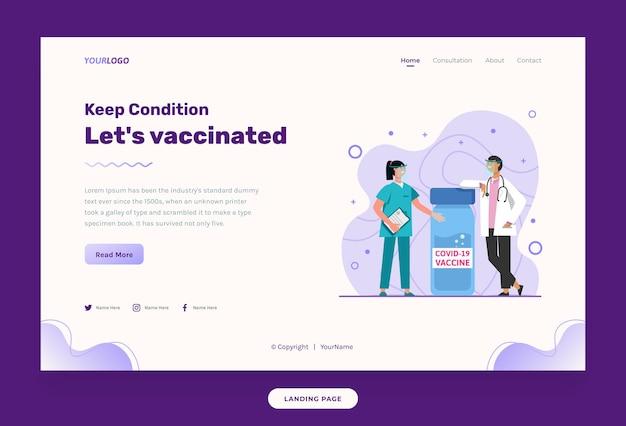 ウェブサイトテンプレートイラスト看護師と医師、ワクチンボトル付き