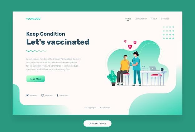 ウェブサイトのテンプレート注射器で患者にワクチン接種する看護師のイラストワクチンボトル