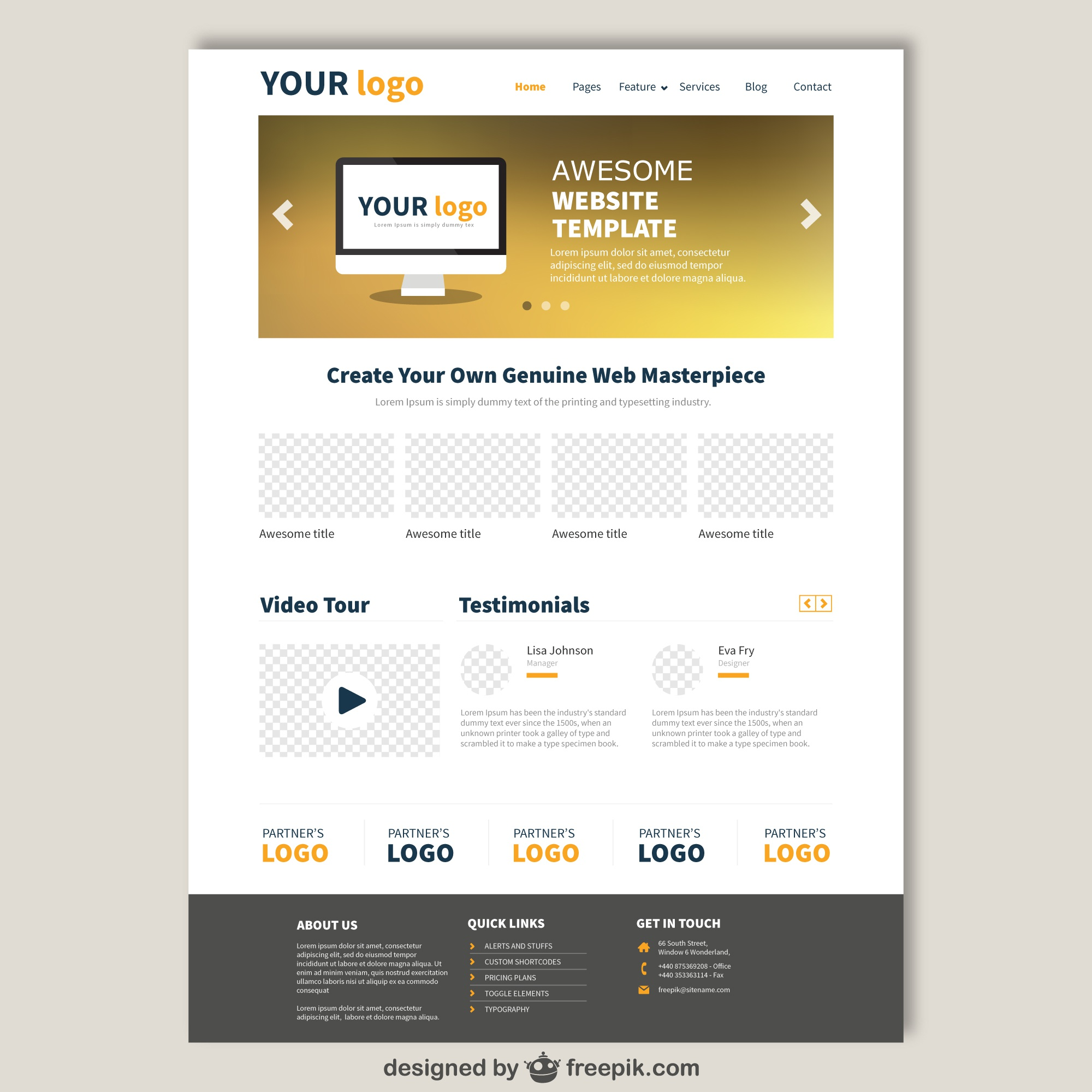 Website template in elegant style