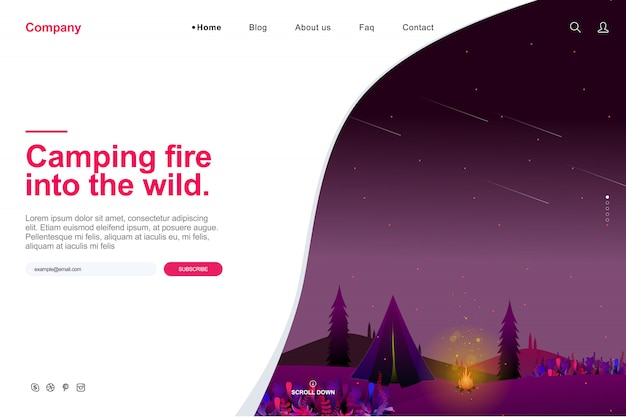 夏のキャンプコンセプトのウェブサイトテンプレート