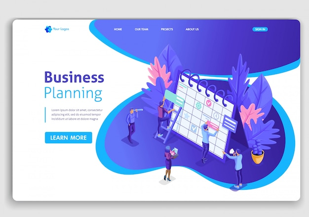 Website template . isometric concept businessmen work, scheduling for a web site. easy to edit and customize