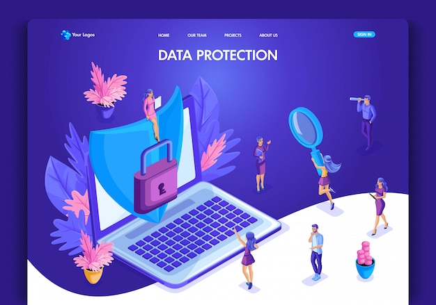 Website template . isometric concept data protection. web design landing page. easy to edit and customize