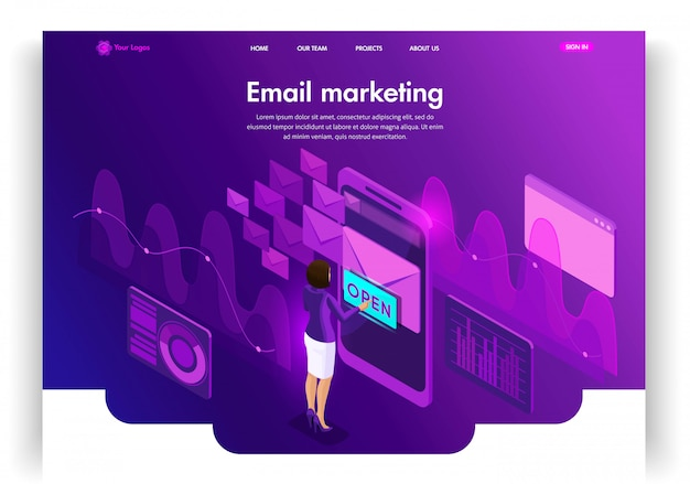Website template . isometric concept email e-mail marketing. marketing research. email inbox electronic communication. easy to edit and customize landing page
