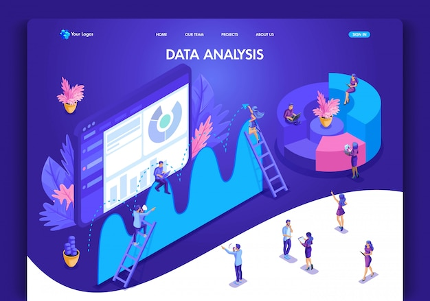 Website template . isometric concept for landing page. data analysis concept with characters. easy to edit and customize, ui ux