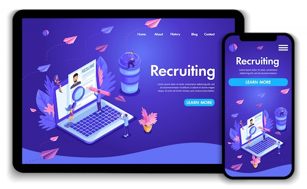Website template . isometric concept recruiting. job agency human resources creative find experience. easy to edit and customize landing page, ui ux