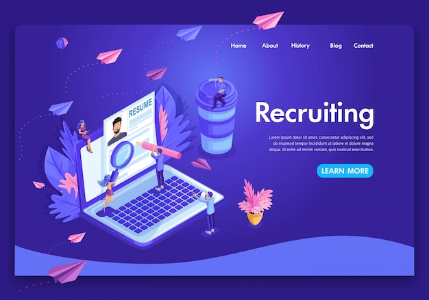 Website template . isometric concept recruiting. job agency human resources creative find experience. easy to edit and customize landing page