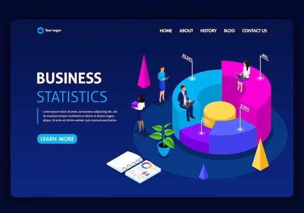 ウェブサイトテンプレート。等尺性概念の仕事パフォーマンス、分析のためのコンサルティング会社。統計とビジネスステートメント。編集とカスタマイズが簡単