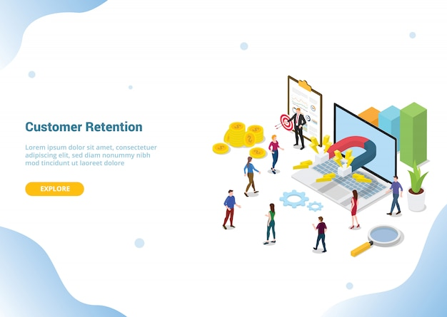 Website template landing homepage. customer retention marketing concept
