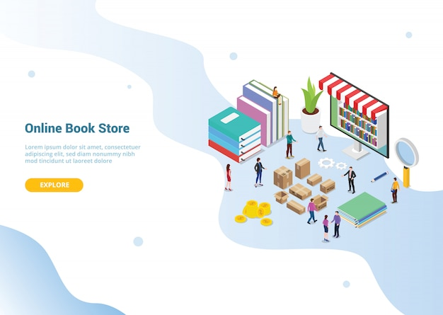 Website template landing homepage. online book store concept