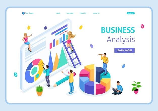 Website template landing page isometric business analysis, can use for web banner. easy to edit and customize.