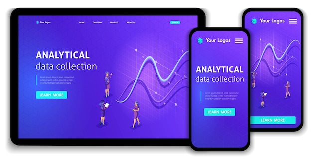 Website template landing page isometric concept analytical data collection. easy to edit and customize, responsive.