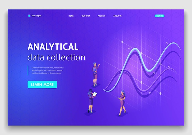 Website template landing page isometric concept analytical data collection. easy to edit and customize.